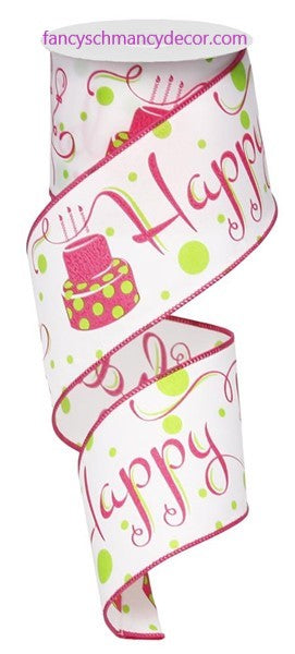 "2.5""X10yd Happy Birthday White/Fuchsia/Lime Wired Ribbon"