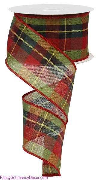 "2.5"" X 10 yd Plaid Wired Red/Green/Yellow/Black Ribbon"