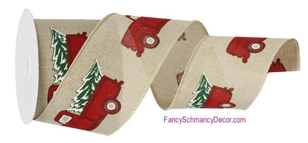 "2.5"" X 10 yard Vintage Truck W/Tree/Royal Wired Ribbon"