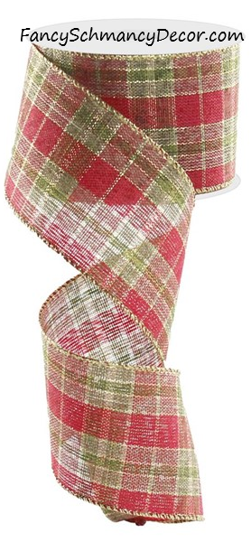 "2.5"" X 10 yds Red Green Gold Plaid  Wired Ribbon"