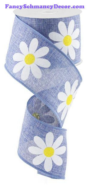 "2.5"" X 10 yd Daisy Bold Print Blue Denim Yellow White On Royal Wired Ribbon"