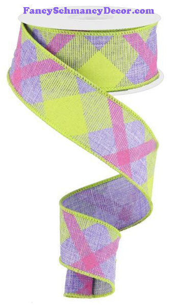 "1.5"" X 10 yd Printed Lavender Lime Green Hot Pink Plaid On Royal Ribbon"