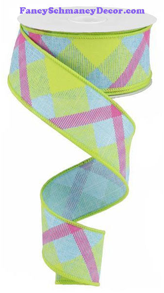 "1.5"" X 10 yd Printed Plaid Blue Lime Green Hot Pink On Royal Ribbon"