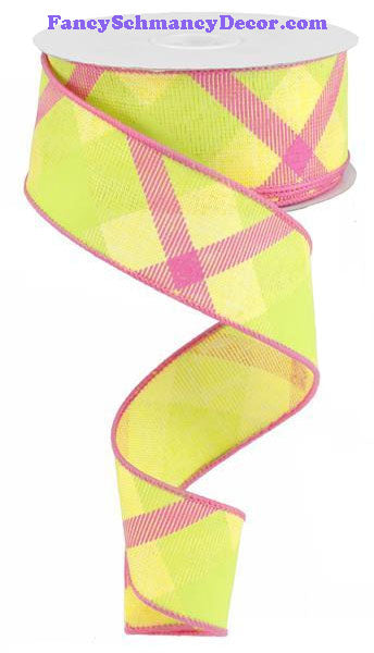 "1.5"" X 10 yd Yellow Lime Hot Pink Printed Plaid On Royal Wired Ribbon"