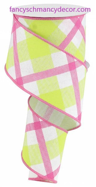 "2.5""X10yd Printed Plaid On Royal White/Lime Green/Hot Pink Wired Ribbon"