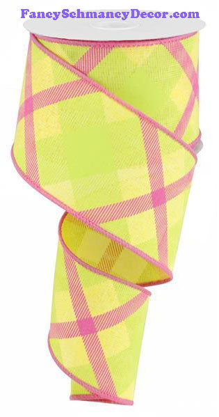 "2.5"" X 10 yd Printed Plaid On Royal Yellow Lime Hot Pink Wired RIbbon"