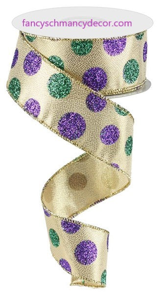"1.5""X10yd Multi Size Glitter Dots Mardi Gras Wired Ribbon"