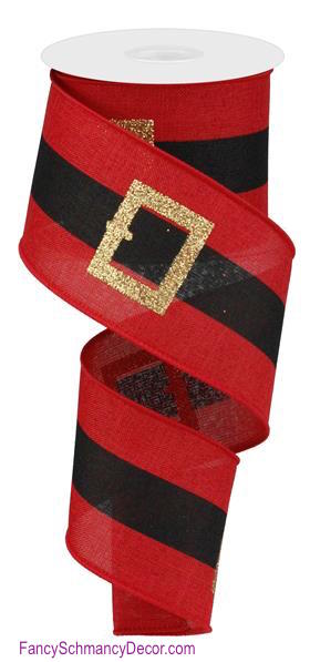 "2.5"" X 10 yd Santa Belt On Royal Red/Gold/Black Wired Ribbon"