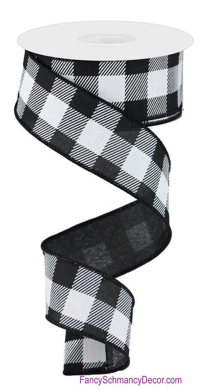 "1.5"" X 10 YD Black White Striped Check on Royal Wired Ribbon"