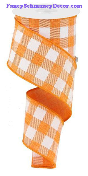 "2.5"" X 10 yd Orange White Plaid Check On Royal Ribbon"