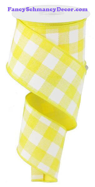 "2.5"" X 10 yd Yellow White Plaid Check On Royal Ribbon"