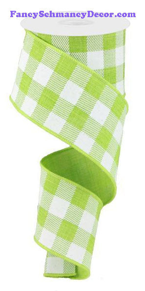 "2.5"" X 10 yd Lime Green White Plaid Check On Royal Ribbon"