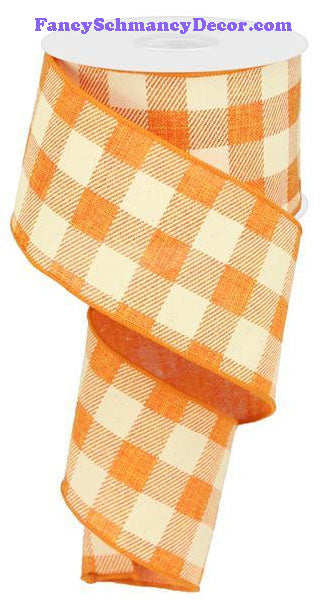 "2.5"" X 10 yd Orange Ivory Plaid Check On Royal Ribbon"