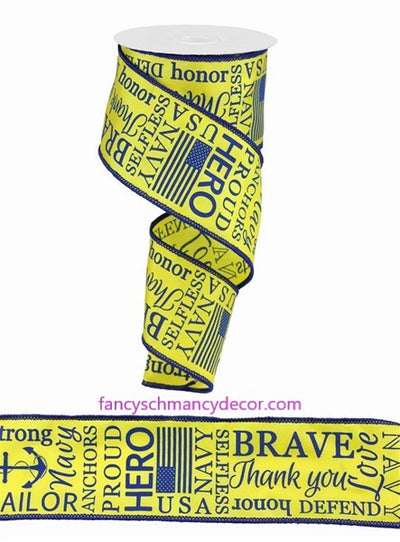 "2.5""X10yd Navy Ribbon Yellow Blue Wired Ribbon"