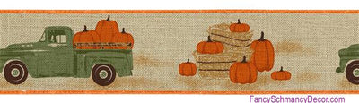 "2.5"" X 10 yd Wired Truck W/Pumpkins On Royal Wired Ribbon"