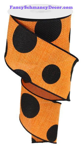 "2.5"" X 10 yd Orange Black Giant Multi Dot Faux Burlap Faux Burlap Ribbon"