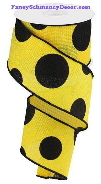 "2.5"" X 10 yd Yellow Black Giant Multi Dot Faux Burlap Faux Burlap Ribbon"