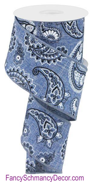 "2.5"" X 10 yd Bandana Denim Print Ribbon"