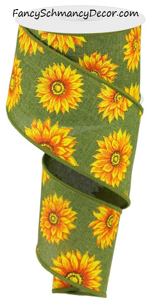 "2.5""X10yd Multi Sunflowers/Royal Burlap"