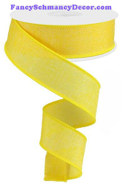 "1.5"" X 10 yd Shiny Yellow Royal Solid Burlap Wired Ribbon"