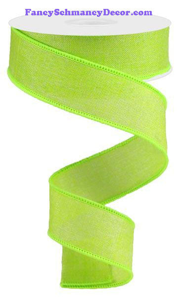 "1.5"" X 10 yd Shiny Lime Green Royal Solid Burlap Ribbon"
