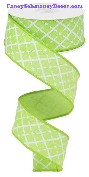 "1.5"" X 10 yd Glittered Argyle Bright Green White Silver On Royal Ribbon"