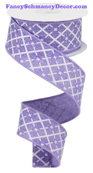 "1.5"" X 10 yd Glittered Lavender White Silver Argyle On Royal Wired Ribbon"