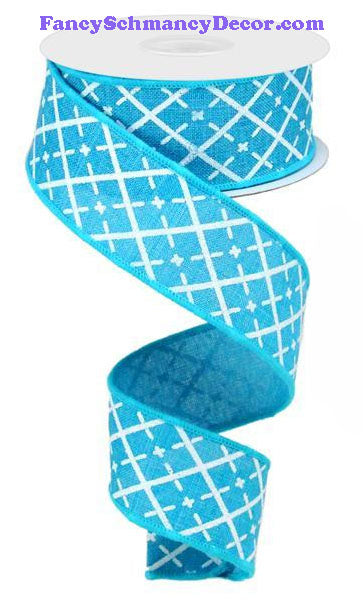 "1.5"" X 10 yd Glittered Argyle Turquoise White Silver On Royal Ribbon"