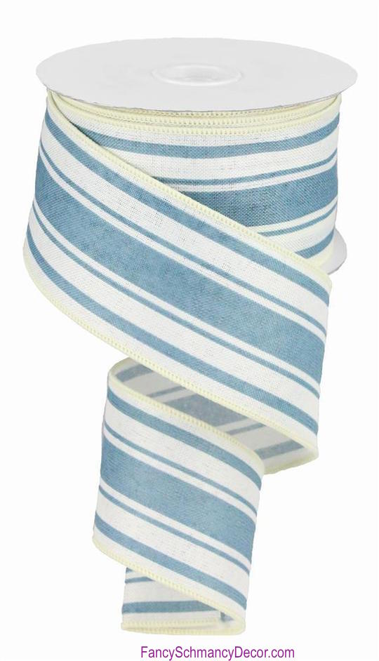 "2.5"" X 10 yd Farmhouse Stripe Ivory Blue On Cotton Wired Ribbon"