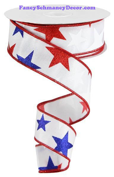 "1.5"" X 10 yd Star White Red Navy On Satin Wired Ribbon"