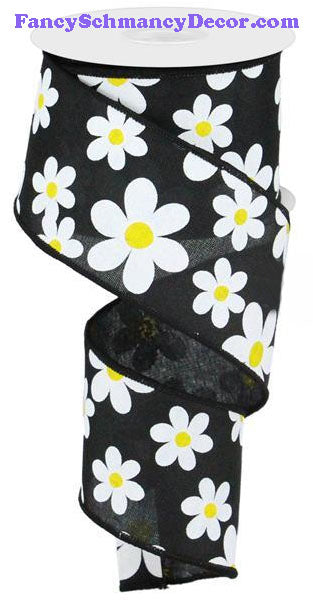"2.5"" X 10 yd Flower Daisy Print Black White Yellow On Royal Wired Ribbon"