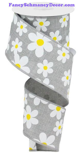 "2.5"" X 10 yd Flower Daisy Print Lt Grey White Yellow On Royal Wired Ribbon"