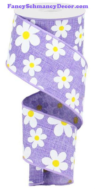 "2.5"" X 10 yd Flower Daisy Print Lavender White Yellow On Royal Wired Ribbon"