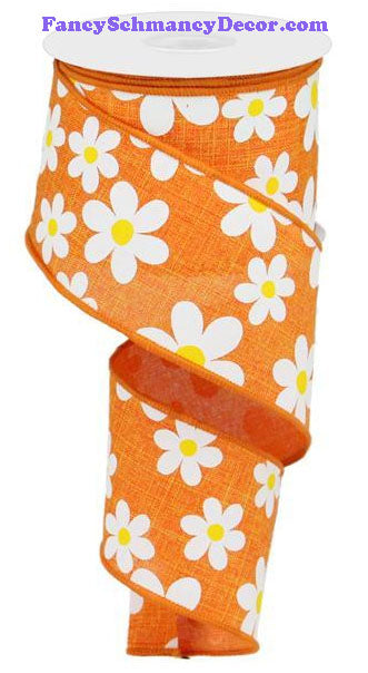 "2.5"" X 10 yd Flower Daisy Print Orange White Yellow On Royal Wired Ribbon"