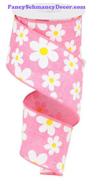"2.5"" X 10 yd Flower Daisy Print Pink White Yellow On Royal Wired Ribbon"