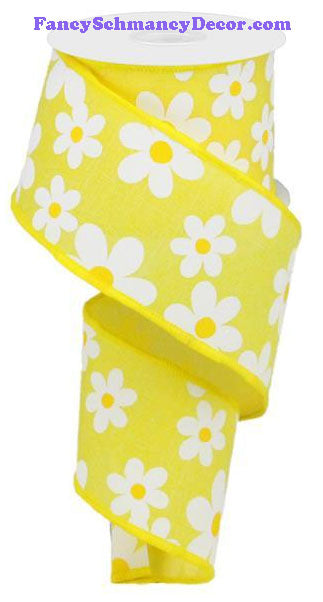 "2.5"" X 10 yd Yellow White Flower Daisy Print On Royal Ribbon"