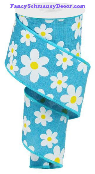 "2.5"" X 10 yd Flower Daisy Print Turquoise White Yellow On Royal Wired Ribbon"