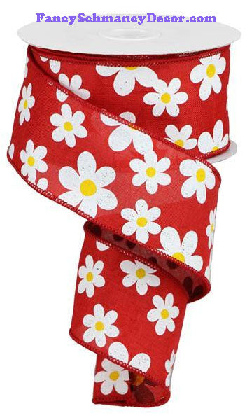 "2.5"" X 10 yd Flower Daisy Print Red White Yellow On Royal Wired Ribbon"
