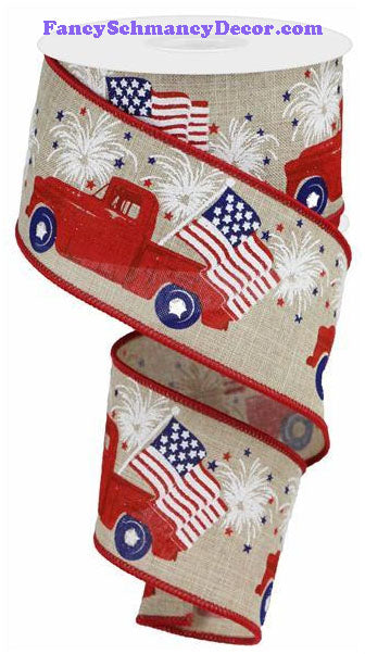 "2.5"" X 10 yd Patriotic Truck On Royal Buff Red Blue Wired Ribbon"