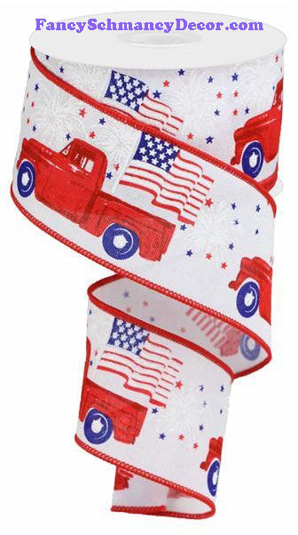 "2.5"" X10 yd Patriotic Truck On Royal White Red Blue Wired Ribbon"