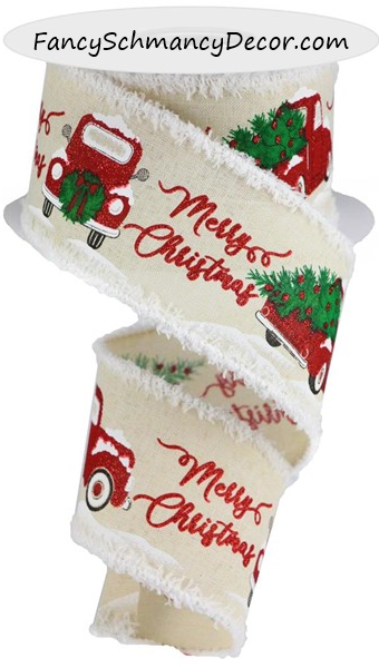 "2.5"" X 10YD Merry Christmas/Truck/Drift Wired Ribbon"