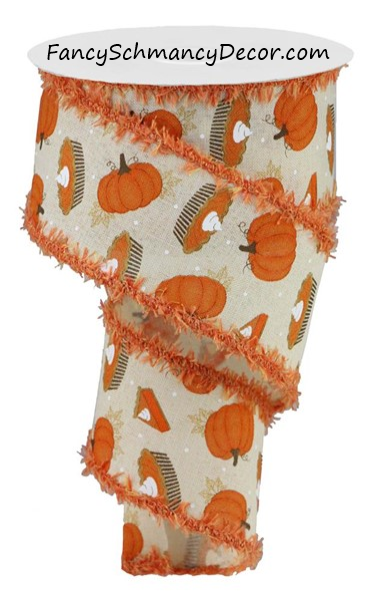 "2.5"" X 10YD Pumpkin Pie on Royal/Drift  Wired Ribbon"
