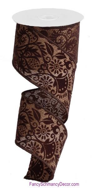 "2.5"" X 10yd Wired Pineapple Damask/Cross Royal Brown/Chocolate Ribbon"
