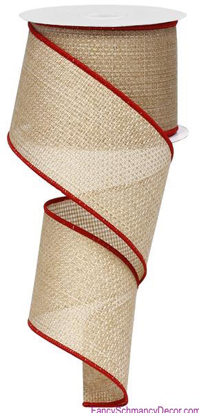 "2.5"" X 10yd Cross Royal Burlap Beige/Red Wired Ribbon"