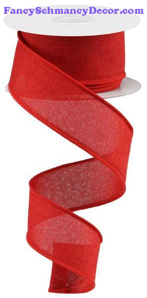"1.5"" X 10 yd Red Royal Solid Burlap Ribbon"