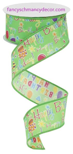 "1.5""X10yd Happy Birthday Lime Multi Wired Ribbon"