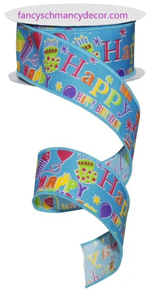 "1.5""X10yd Happy Birthday Turquoise Multi Wired Ribbon"