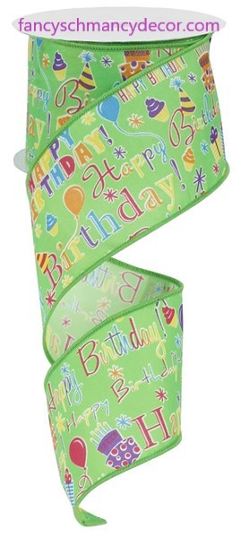"2.5""X10yd Happy Birthday Lime Multi Wired Ribbon"