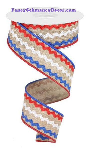 "1.5"" X 10 yd Lt Tan Red White Blue Ricrac Ribbon"
