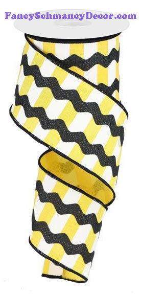 "2.5"" X 10 yd Fancy Ricrac Yellow White Black On Stripes Wired Ribbon"